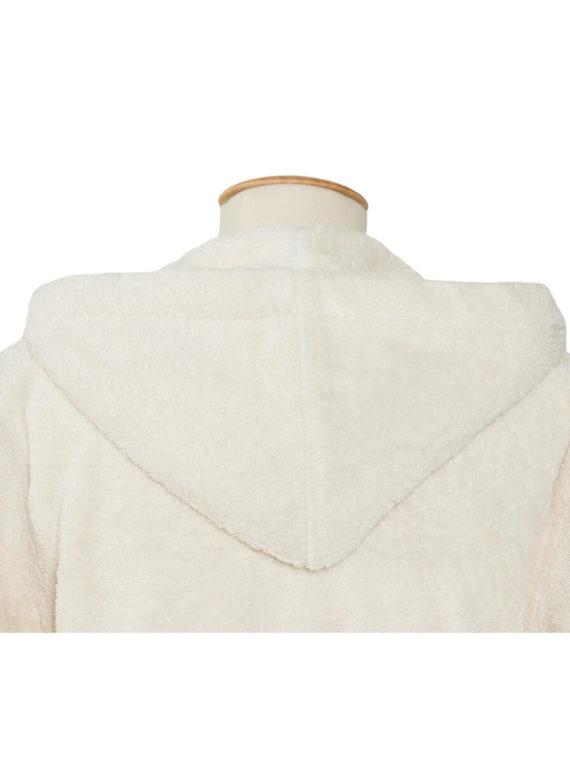 Peignoir éponge américain en coton biologique avec capuche.