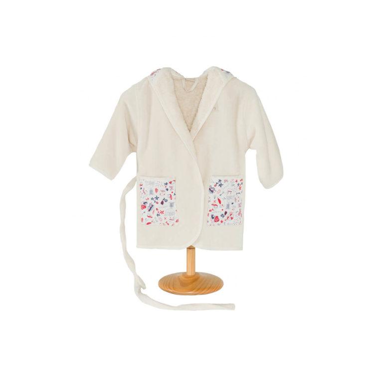 Peignoir enfant en coton biologique avec motifs de la mer