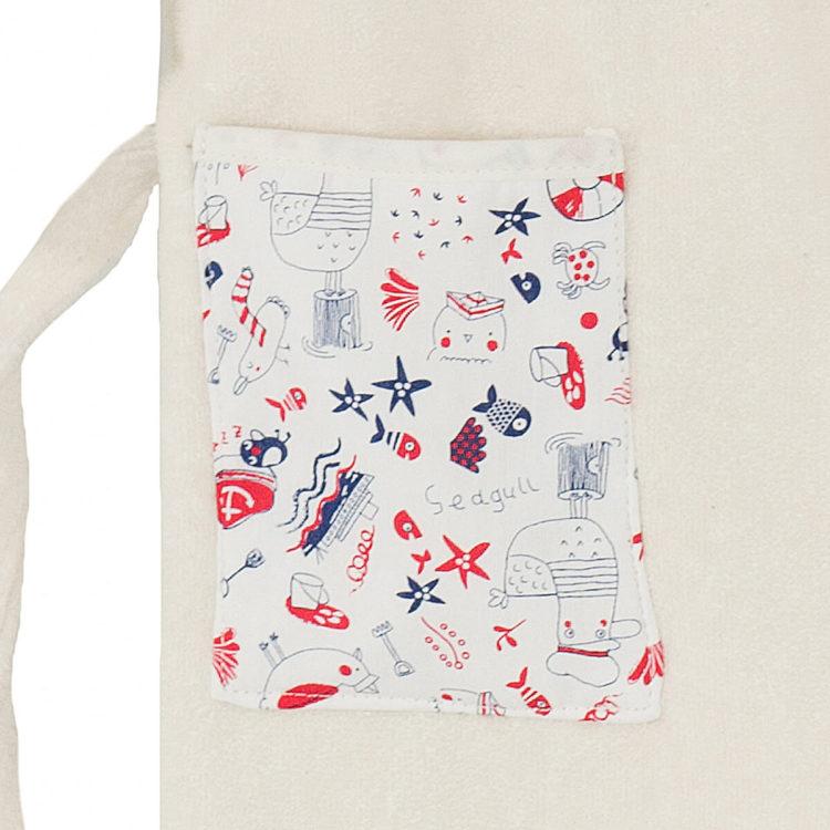 Peignoir enfant en coton biologique 2 poches avec motifs de la mer