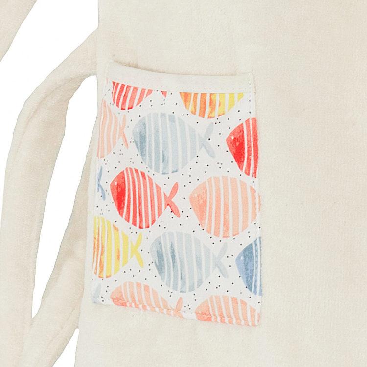 Peignoir enfant en coton biologique 2 poches avec dessins de poissons